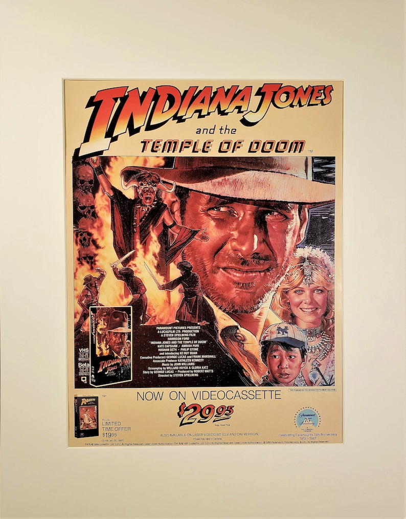 1986 Indiana Jones and the Temple of Doom VHS Movie Vintage Print Ad Page Movie Poster ~ FREE SHIPPING !!**