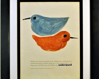 1962 Underwood Olivetti Typewriter Vintage Print Ad - Framed, Unframed or Matted - FREE SHIPPING