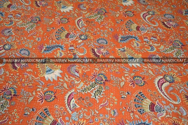 Bhairav Handicraft/'s ORANGE MUKUT Indian kantha quilt Double bad Rallies Indian Jaipuri Razai-Queen size 90x108 Inchas Aprox