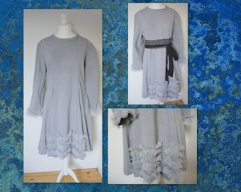 Flared dress ruffled cotton L