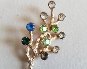 Vintage Van Dell Pin Brooch Gold Filled Tree Branch w Faux Gemstones Signed