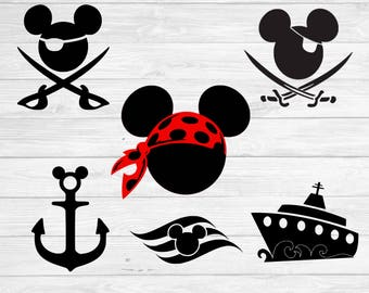 Mickey mouse pirate svg, mickey anchor svg, disney cruise svg,