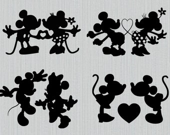 Mickey mouse minnie mouse svg, love, kissing, heart, Mickey minnie love svg, t-shirt transfer, clipart, cut files for cricut silhouette, DXF