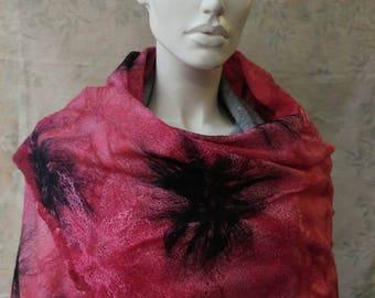 Shawl Felted, felted scarf raspberry