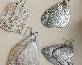Leather Earrings Silver Selections