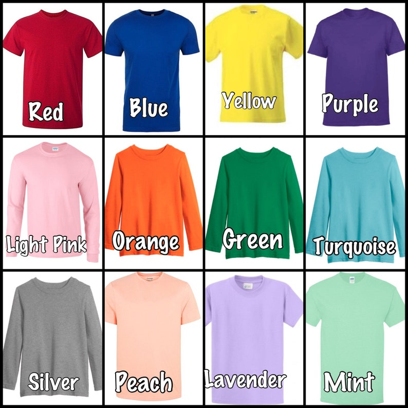0514fed31e solid color t-shirts, every size, short or long sleeve, baby to adult,  colored tee shirts, short sleeve, long sleeve,
