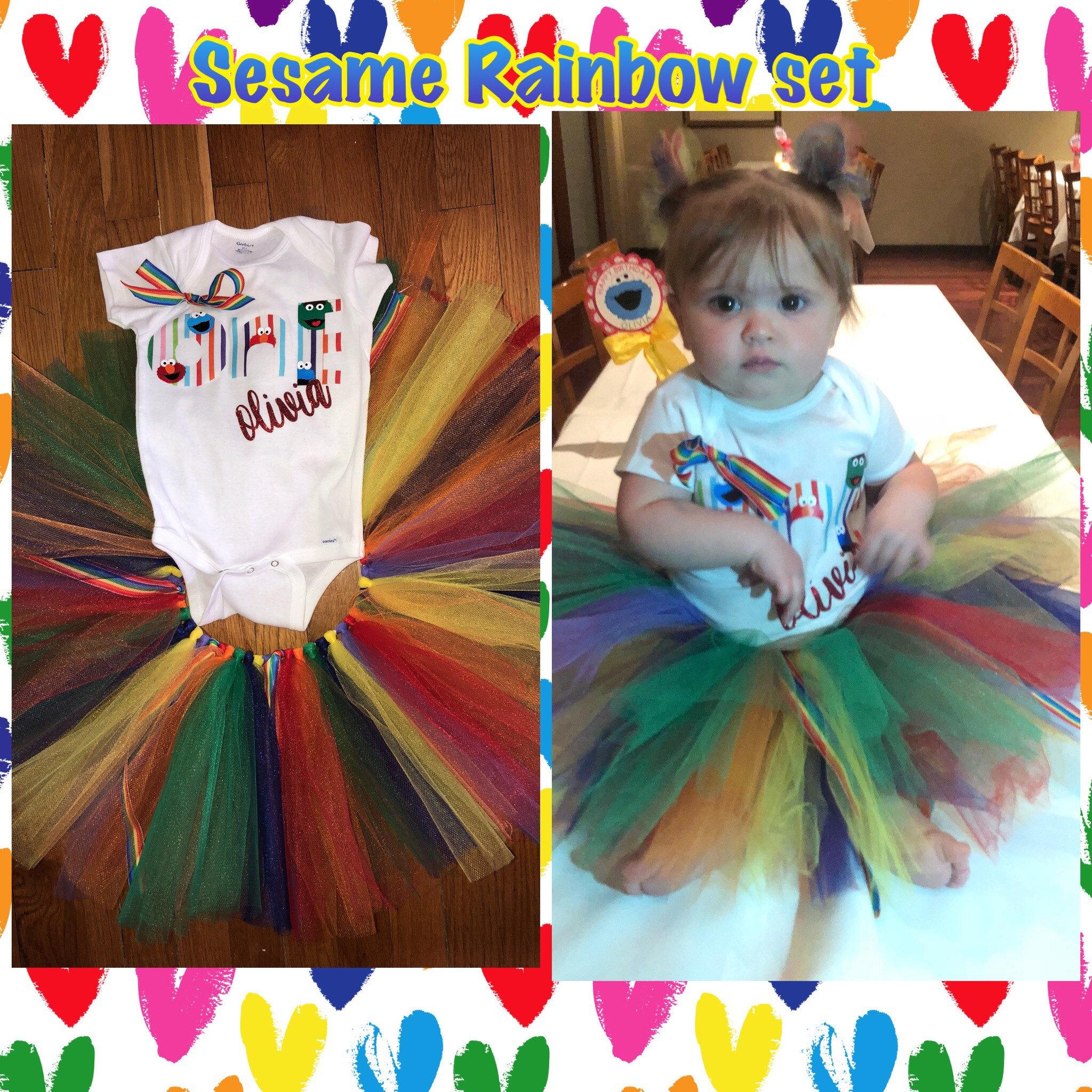 Rainbow Sesame Tutu Set 3 Piece Tutu Set Sesame Street Birthday