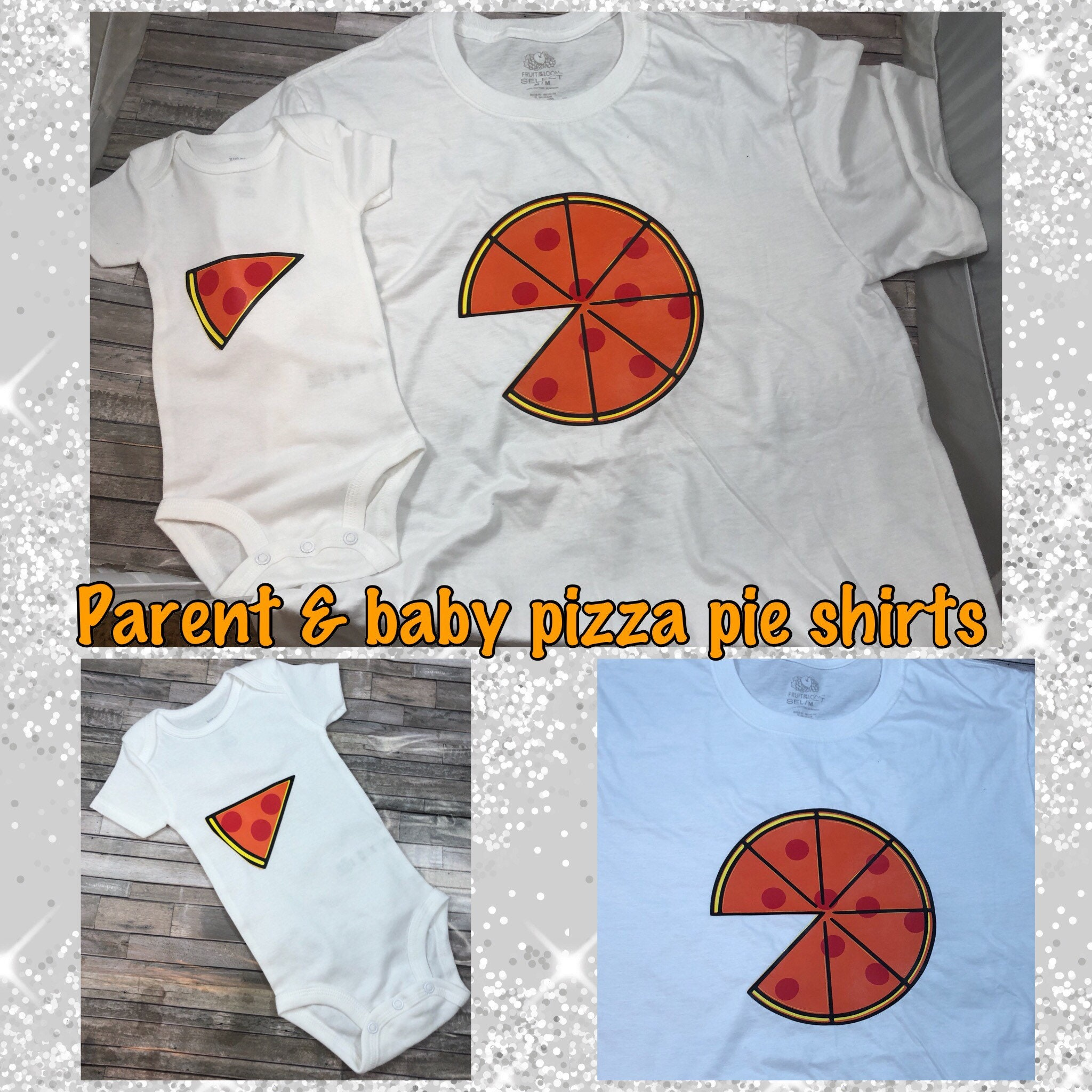 cbc34dc65 Parent & baby pizza shirts, mommy and me, daddy and baby, parent and child,  any color, any toppings, 2 shirt set, pepperoni pizza shirt