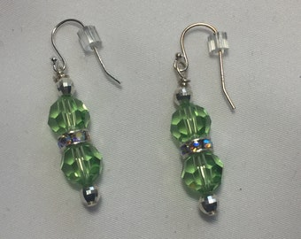 Green, Swarovski Crystals, Earrings