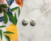 Marble Rough Cut Stone Stud Clay Earrings