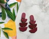 Maroon Ombré Clay Earrings