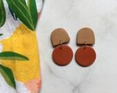 Tan + Terracotta Clay Earrings