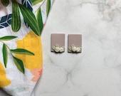 Pastel Lavender Floral Stud Clay Earrings