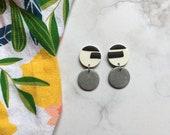 Silver + Black + White Clay Earrings