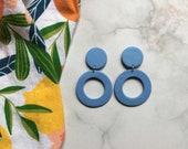 Light Wash Denim Cutout Clay Earrings