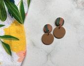Tan + Marble Clay Earrings