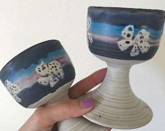 1970's Stoneware flowered goblets, cups, drinkware
