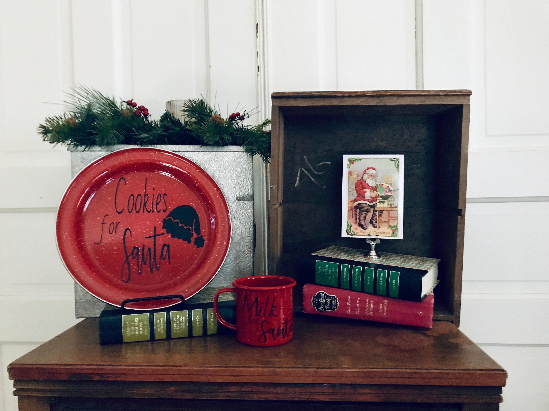 Red Enamel Santa Cookie Plate Set