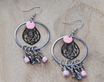 Silver Celtic Cross With Hot Pink and Pink Crackled Glass Bead Drops with Surgical Steel Fish Hook Earrings