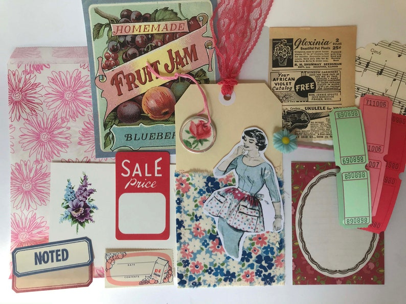 Vintage Housewife Garden Junk Journal Paper Pack Your choice Vintage Baking Cooking Garden Ephemera Scrapbook Junk Journal Ephemera Kit