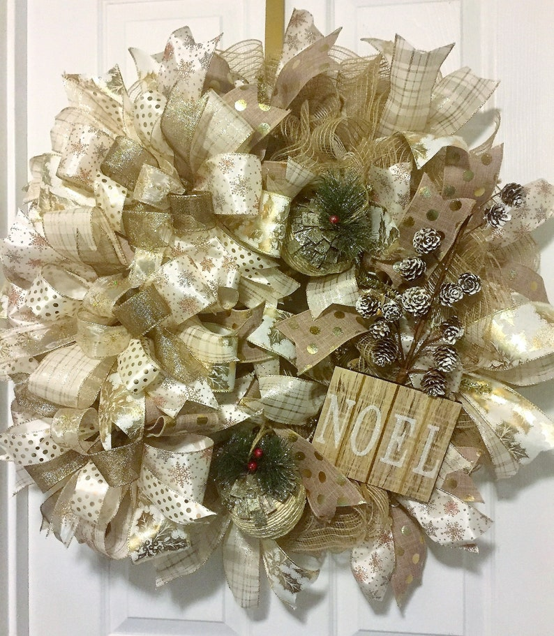holiday home decor Christmas cream and gold elegantwreath for front door Christmas decoration deco mesh wreath Xmas welcome wreath