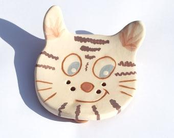 White cat ceramic SOAP dish