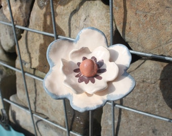 Flower ceramic white and blue - garden and home decoration.