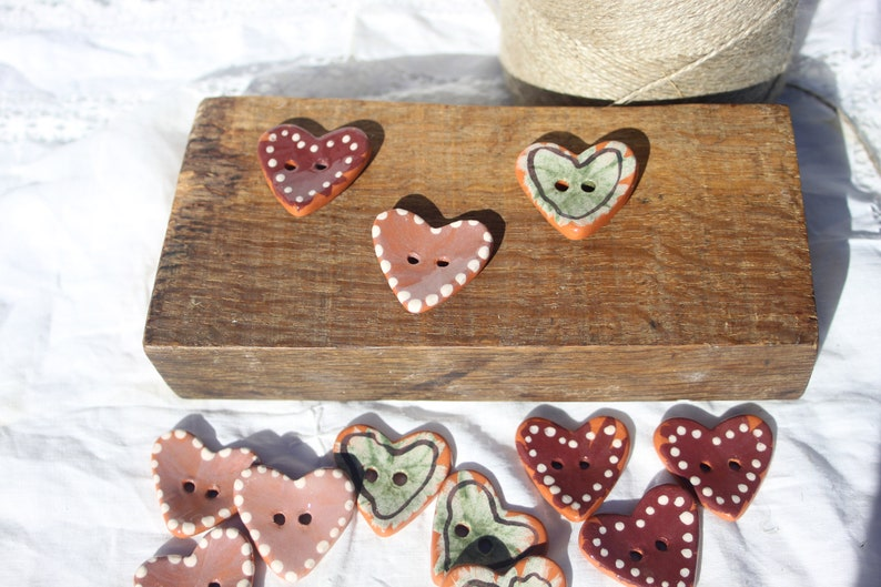 Choice of handmade ceramic heart buds-for sewing knitting jewelry DIY
