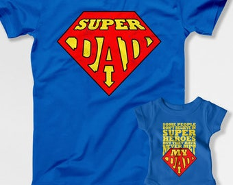 c860782ef Father Daughter Matching T Shirts Dad And Baby Gift Daddy Son Shirts  Father's Day Gifts For New Daddy TShirt Super Dad Gift Idea TEP-259-260