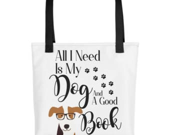 Dog Lover Book Tote bag Book Reader and Dog Lovers Gift