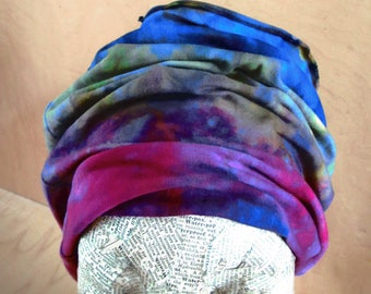 Ice-Dyed, Wide, Stretchy Headband-Cowl