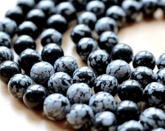 8mm Snowflake Obsidian beads, full strand, natural stone beads, round, 80032
