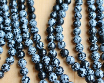 4mm Snowflake Obsidian beads, full strand, natural stone beads, round, 40021