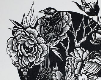 Chinoiserie I - Original handcarved Linocut print, limited edition B/W, featuring birds and flowers