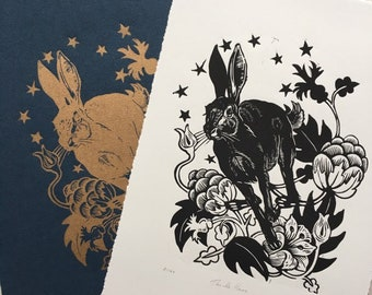 Thistle Hare Linocut - Original Handcarved Handmade Linocut Linoprint Artwork, Limited edition in Gold, featuring Rabbit and Floral Design