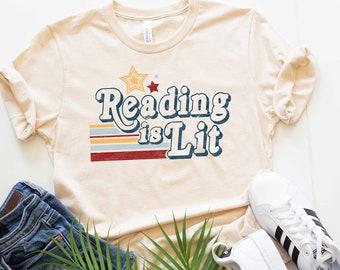 Reading is Lit Shirt Bookworm Literary Shirt Reading Shirts for Teachers Bookish Gifts English Teacher Shirt Plus Size