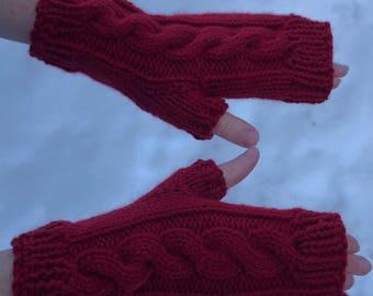 Dark Red, Fingerless Gloves, Fingerless Mittens