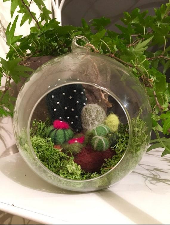 Felted Hanging Cactus Terrarium Etsy