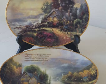 """1998 THOMAS KINKADE """"New Day Dawning"""" & """"Simpler Times"""" Special Ed. Oval Plates"""