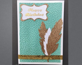 Handmade Card with Gold Feathers