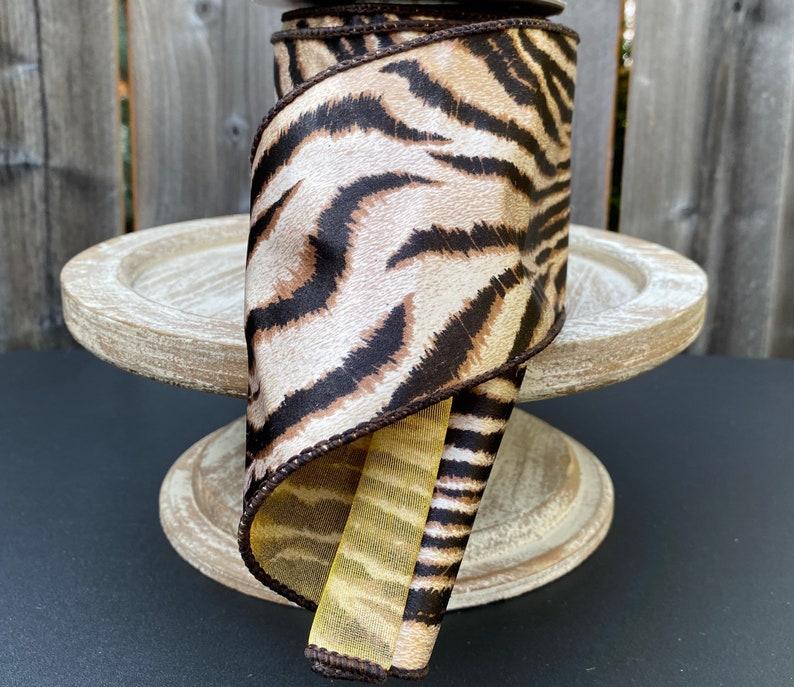 5 Yards Animal Print Wired Ribbon 4 Inch Ribbon,Brown Black Gold Ribbon Brown Animal Print Ribbon Silky Tiger Print Ribbon Fun Ribbon