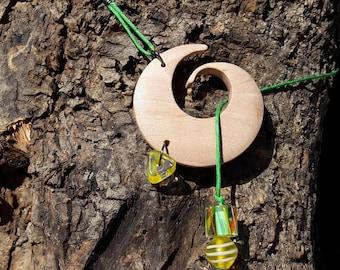 Wooden BoHo pendant necklace