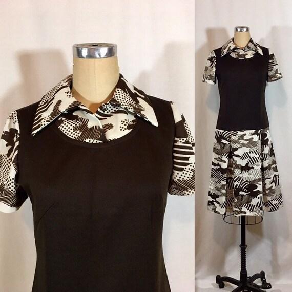 Vintage 70s Drop Waist Dress