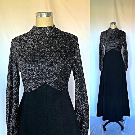 Vintage 70s Metallic Maxi Dress Disco Mock Neck