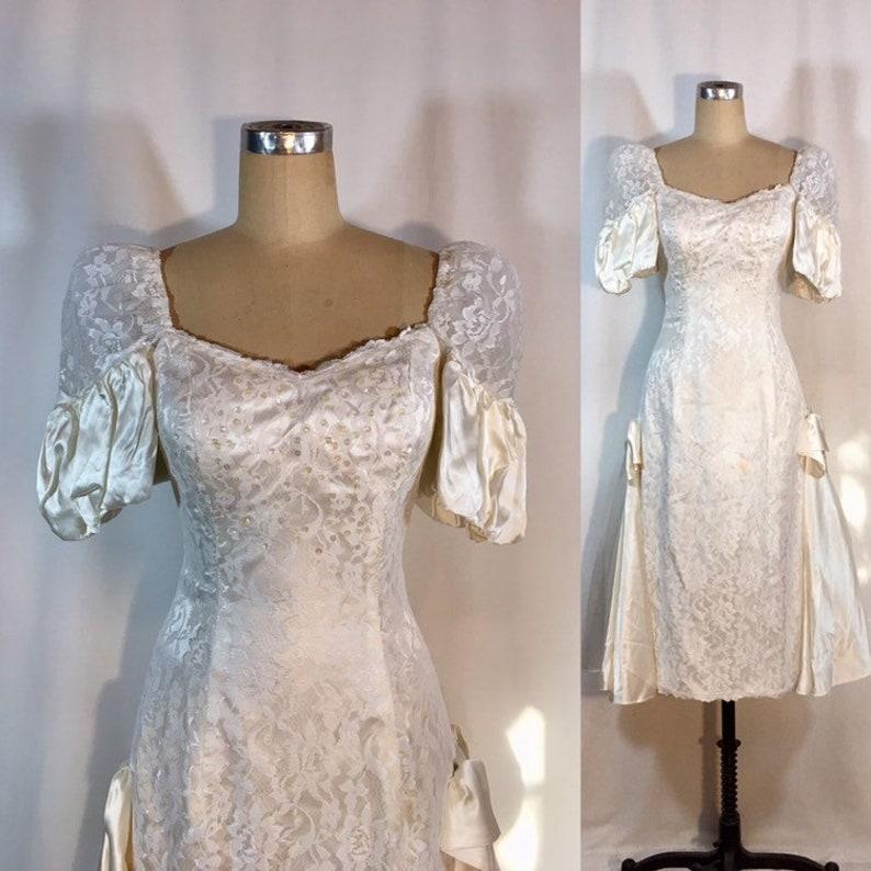 2b987376328 Vintage 80s Prom Wedding Dress