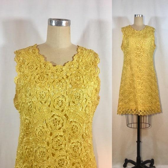Vintage 50s Crochet Raffia Dress