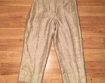 Vintage Linen Wide Leg Cropped Pants
