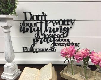 Philippians 4:6 Metal Wall Art