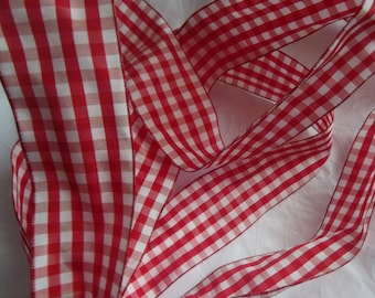 1 M RIBBON 22 ARMED TAFFETA 4.3 CM GINGHAM RED / WHITE