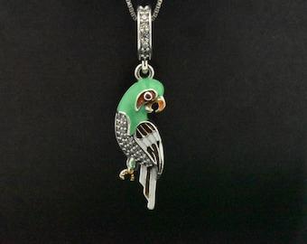 Handmade 925 Sterling Silver Friendship Pave Simulated Diamond Green Enamel Animal Modern Contemporary Charm Pendant Parrot Bird Necklace